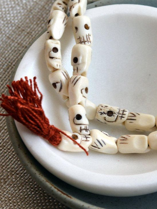Hand Carved Bone Skull Beads, Skull Beads, Tibetan White Bone Skull Mala, 108 Beads, Tibetan Prayer Beads, Kali, Bone Beads, MAN16-1012 by WanderlustWorldArts on Etsy