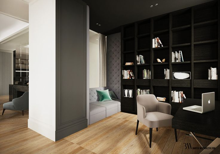 Gabinet z jasną dębową podłogą, ciemną biblioteką, kącikiem z kanapą. http://bartekwlodarczyk.com/