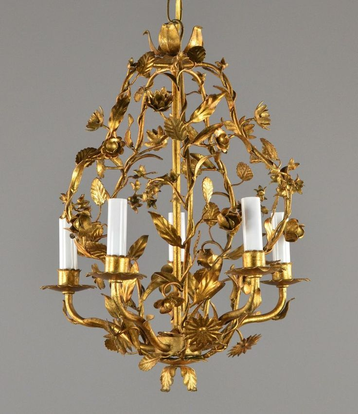Gold Leaf Italian Tole Chandelier c1950 Vintage Antique Gilded Ceiling Light - 174 Best Fabulous Tole Images On Pinterest Chandeliers, Italian