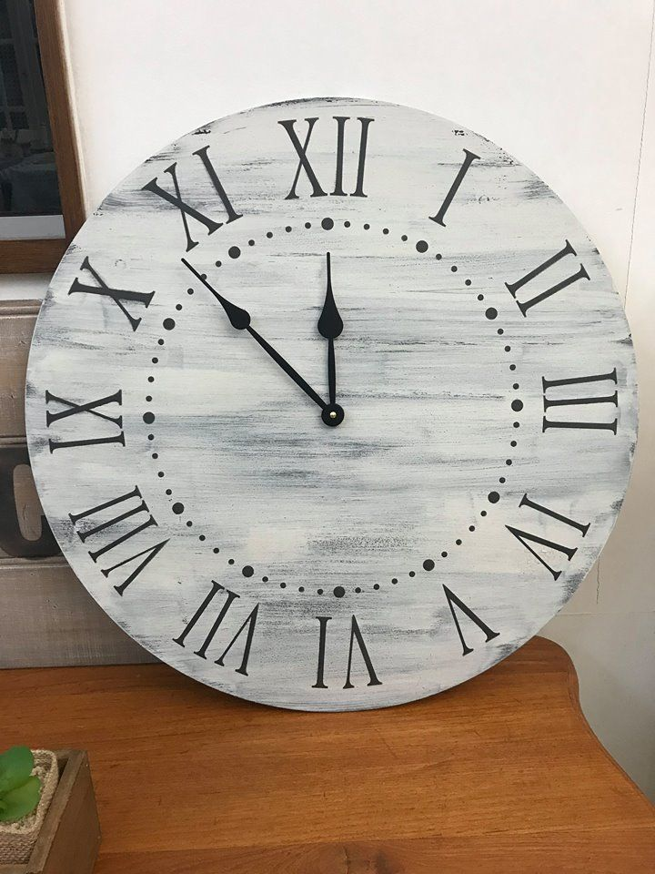 quite pleased with the huge farmhouse clock I made at a workshop this morning .. photo credit: I Restore Stuff
