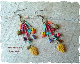 Boho Earrings, Colorful Bohemian Leaf Earrings, Tribal Dangle Earrings, Hippie Gypsy Earrings, BohoStyleMe, Kaye Kraus