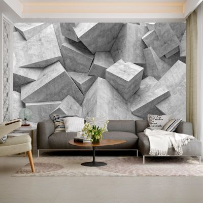 Fototapetul personalizat  Zid Geometriceste perfect pentru a decora integral un perete din casa ta sau dintr-un alt spatiu: bar, restaurant, hotel, birou s.a.