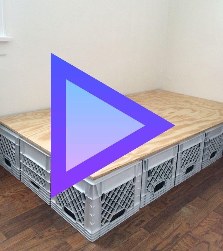 Bed Frame Made Of Plastic Crates Crates Frame Plastic Bed Frame