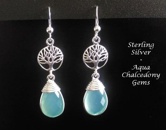 Mother's Day Gift 173, Sterling Silver Earrings with Chalcedony Gems - under $40 at www.treeoflifejewellery.com and https://www.etsy.com/shop/MyTreeOfLifeJewelry and www.mothersdayaustralia.net.au #treeoflife #treeoflifejewelry #jewelry #moonstone #jewellery #celtic #mothersdaygiftideas #mothersday