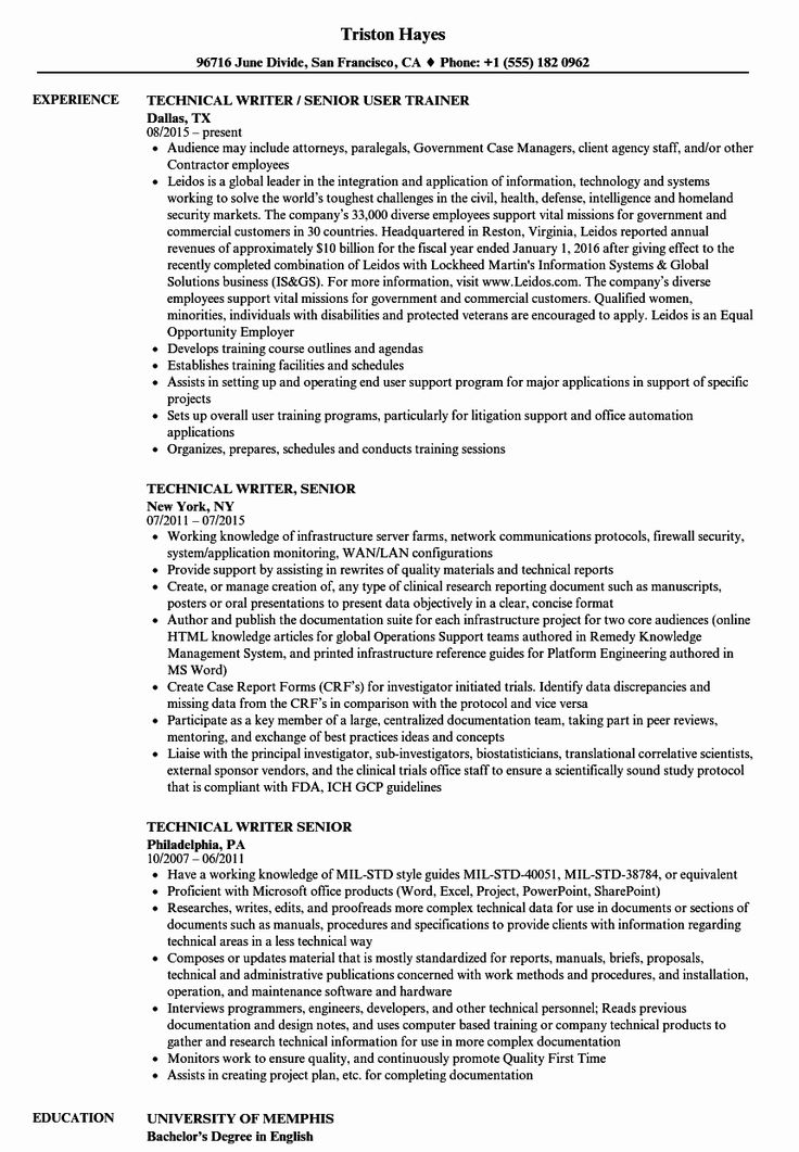 Technical Writer Resume Examples Fresh Technical Writer