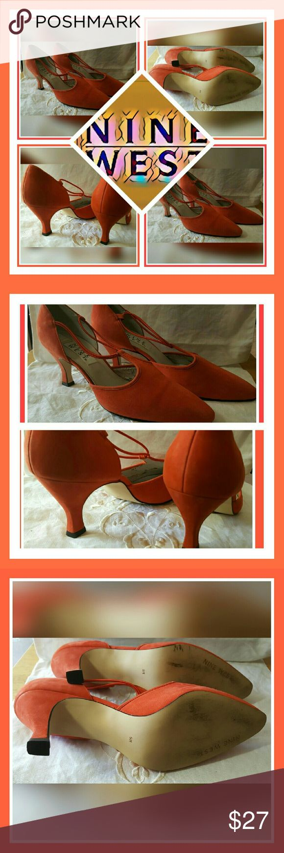 "NINE WEST ORANGE CLASSIC PUMP SIZE 9M THESE CLASSIC ORANGE PUMPS FROM NINE WEST HAVE A 3""HEEL. STYLE IS PUMP;WIDTH US MEDIUM  MATERIAL SUEDE PIC 4 SHOWS LINING IS PEELING. SHOE IS IN EUC SIZE 9M Nine West Shoes Heels"