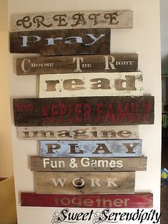 pallet paradise, pallet, Pallet signs This was done by Julia Sweet Serendipity she s got the instructions here She wrote that that the words were chosen by her three children these are things they want to do as a family I thought that was so sweet
