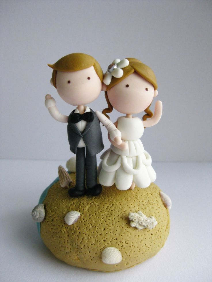 Wedding Clay Cake Topper - Beach Theme (Not
