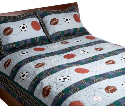 Pem America, Sports Action Collection, Twin 2 -Piece Quilt Set, Blue by Pem America. $92.27. Made in China. Twin size  68 by 86 inches. Machine wash and dry. Hand made construction. Twin set is quilt and one standard sham. 100% Cotton. Sports action appliqué quilt.  Twin set includes 68 by 86 inches quilt and one standard sham.  The quilt and shams are a combination on patchwork designs showing sports equipment. The quilt cover is 100% cotton with a 100% cotto...