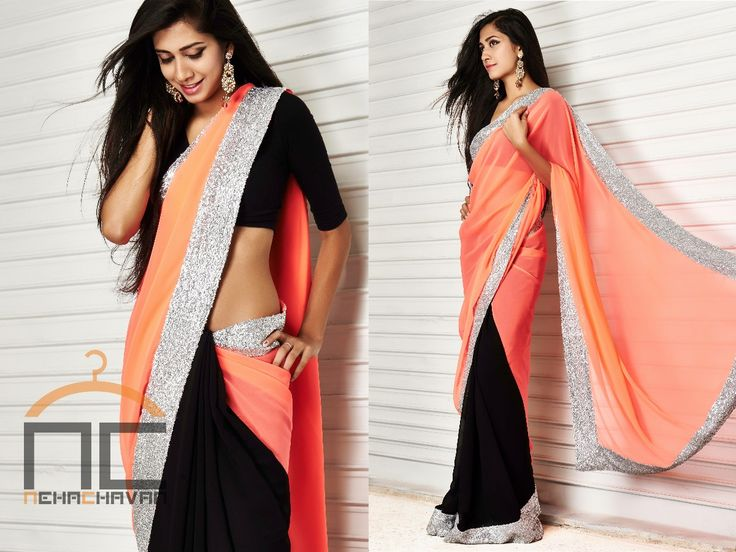 Saree at Nehachavan - PRODUCT CODE : NC003 This contemporary Georgette saree half in black and half in Neon Peach edged with silver sequins will make everyones eyes roll. You can customize this saree and get it in a wide range of color combinations to suit your needs. Buying this saree is simple, email us at fashion@nehachavan.com the product code NC003 and we will contact you with further details.