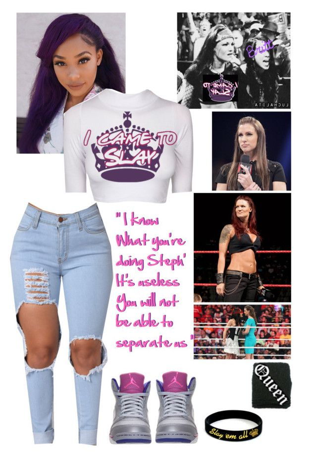 """ Brittany  Raw ~ interrupting Stephanie Mcmahon's promo while she was persuading Lita to leave me"" by queenofwrestling ❤ liked on Polyvore featuring Retrò, lita, WWE, wrestling and stepaniemcmahon"