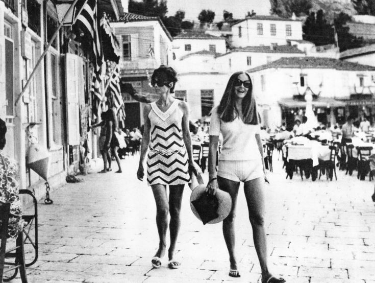 Audrey Hepburn photographed with her husband Andrea Dotti and close friend Doris Brynner on vacation in Hydra, Greece, July 1970.
