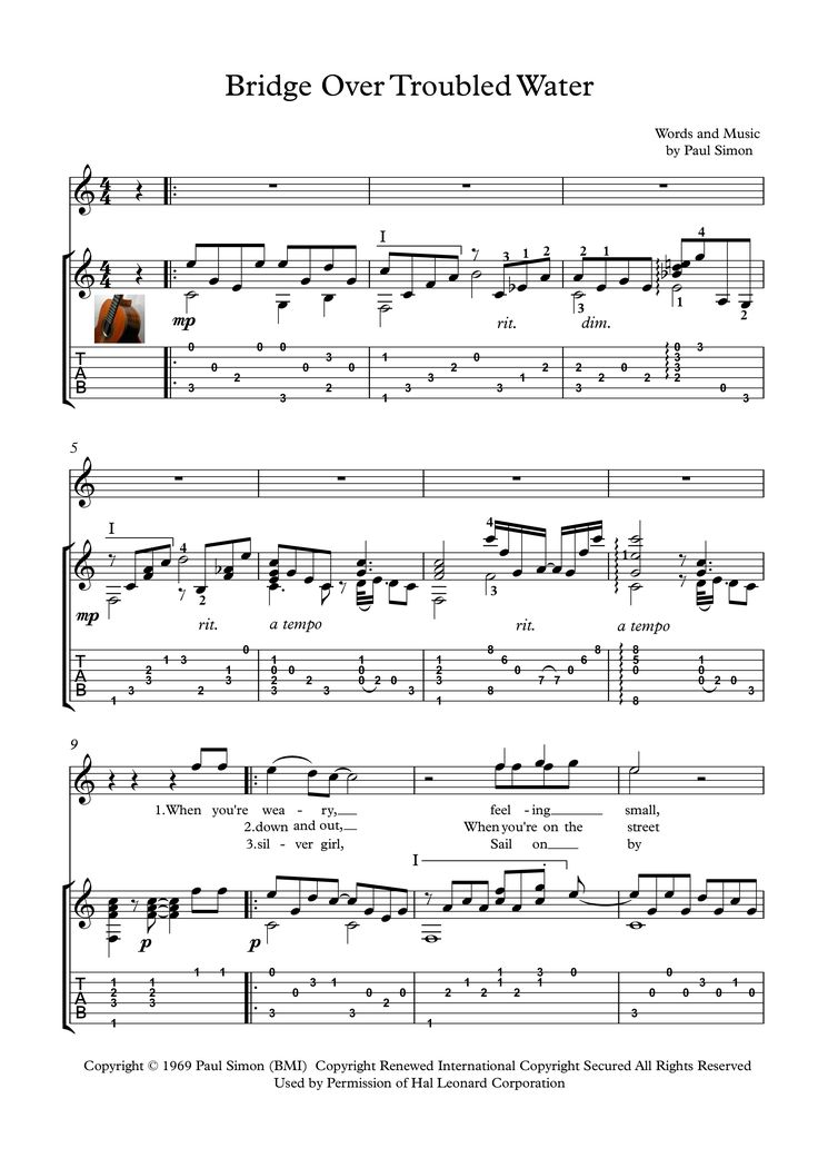 troubled note Print and download simon & garfunkel bridge over troubled water easy guitar tab includes easy guitar tab for guitar or voice in d major sku: mn0108042.