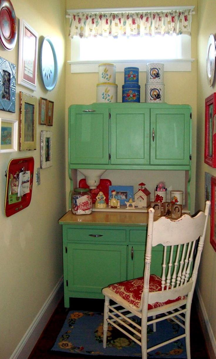 Antique green kitchen cabinets - Vintage Green Kitchen Cabinet In A Nook