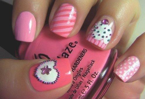 cupcake nail designs: Pink Cupcake, Nailart, Makeup, Cupcake Nails, Nail Designs, Naildesign, Beauty, Nail Art