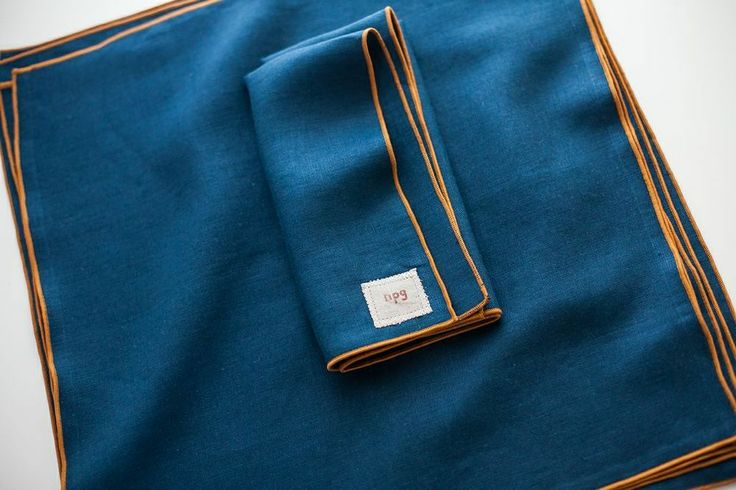 traditional napkins | portland collection, indigo with gold