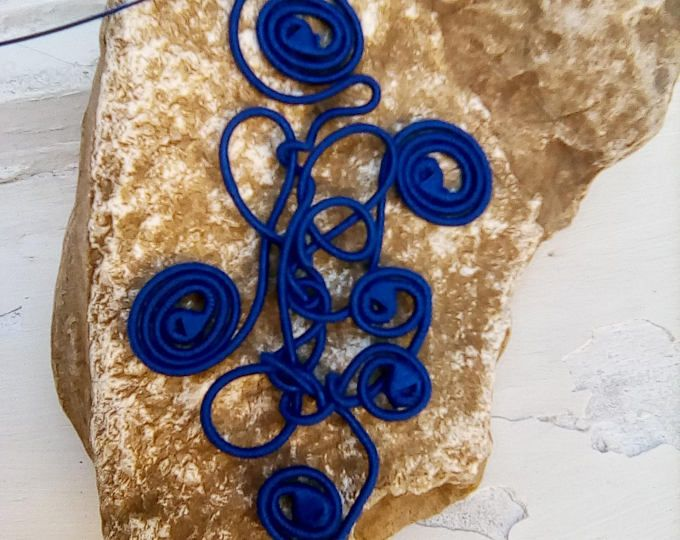 Night Song  yarn-wrapped / blue navy/ cotton yarns/ thread-wrapped/ handmade/necklace