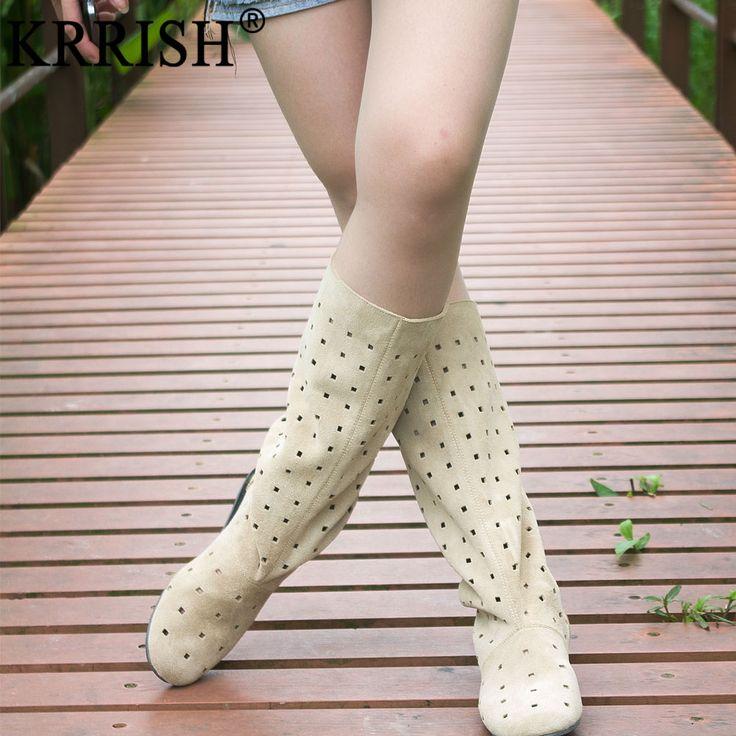 Krrish коровьей планируется летом 2013 женские сапоги плоские сапоги летние сапоги полые прохладный ботинки женщин высокие сапоги - Taobao