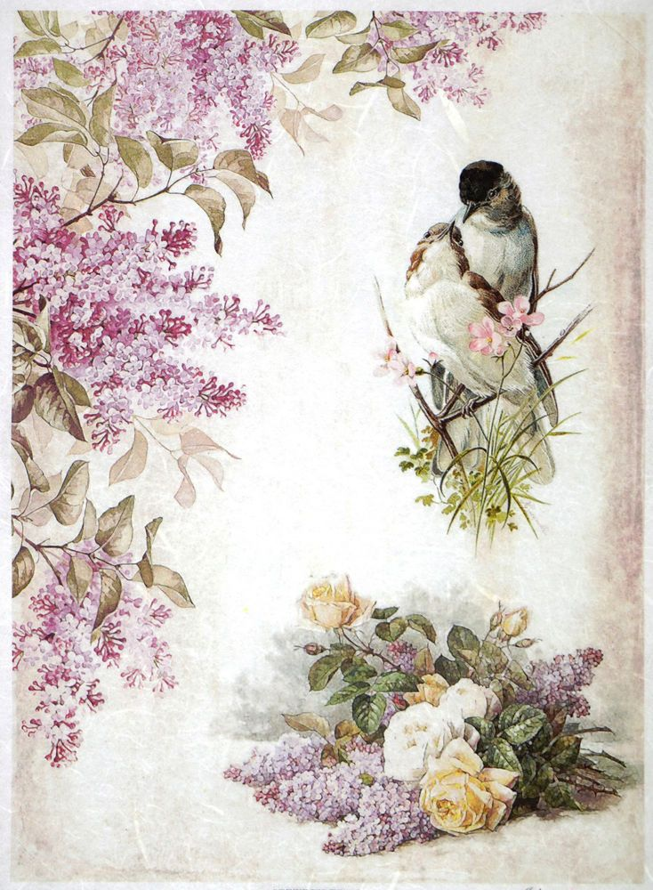 Rice paper -Lilac flower and two birds- for Decoupage