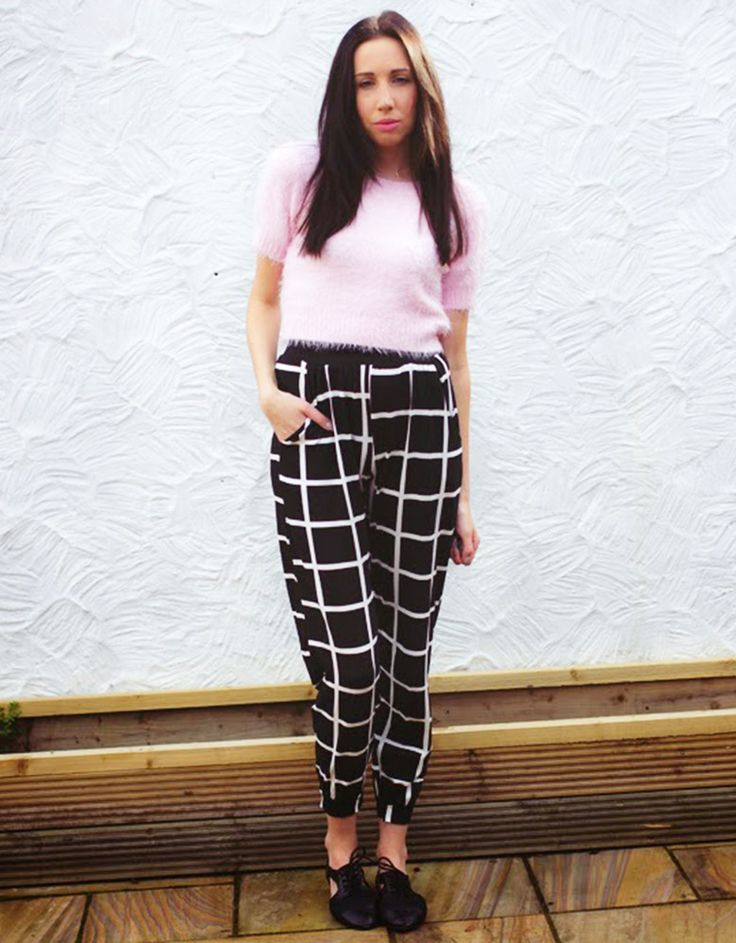 Sam in our Black Check Print Joggers.. www.ohmystyle.co.uk/ #black #white #monochrome #check #window #pane #print #harem #jogger #pants #style #styling #love #fashion #chiarafashion