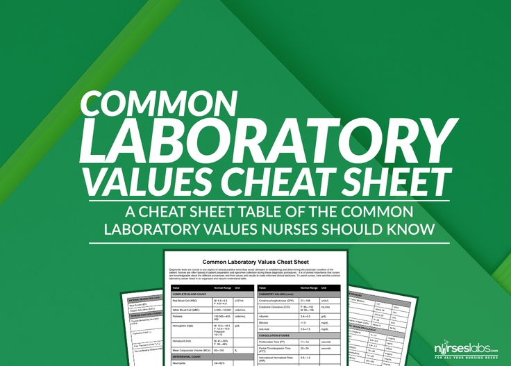 To assist nurses, here are the common laboratory values listed in an organized and easy-to-understand cheat sheet table.
