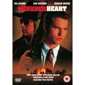 Tough but moving, Thunderheart is an unusual story about an arrogant FBI agent (Val Kilmer) who participates in a federal investigation of a murder on an Oglala Sioux reservation. Kilmer's character is part Sioux himself, a detail that leaves him cold as he sets about pushing his way through the community to find facts on the case. In time, however, he begins to feel an ethnic tug and grows increasingly sympathetic to the locals and hostile toward his fellow G-men.: Movie Tv Character, Movie Show, Favorite Movie Tv, Thunderheart, Cinema, Movie Direction, Finding Facts, Hollywood Movie, Favorite Film