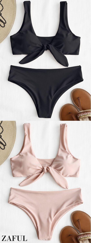 Tie Front Padded Bikini Set