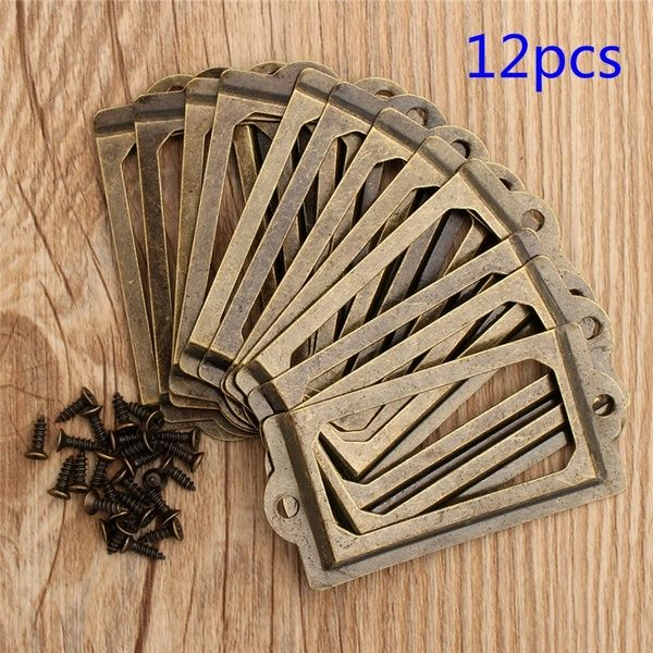 20Pcs Antique Iron Label Frame Card Holder Cup Pull Handle Drawer Box Case