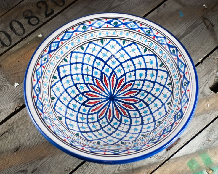 Tunisian dish, handmade and hand painted. I always fall in love with these ones!