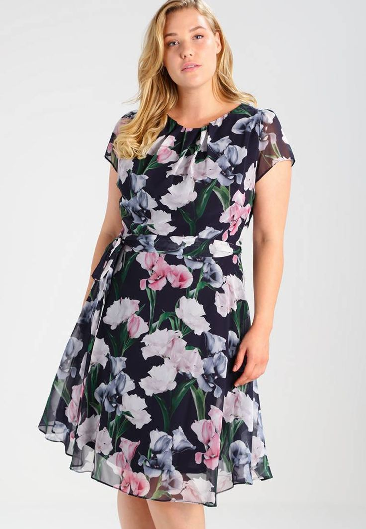 Dorothy Perkins Curve. BILLIE FLORAL - Summer dress - black. Outer fabric material:100% polyester. Pattern:floral. Care instructions:machine wash at 40°C,do not tumble dry,Machine wash on gentle cycle. Neckline:round neck. Sleeve length:short. Back width:15....