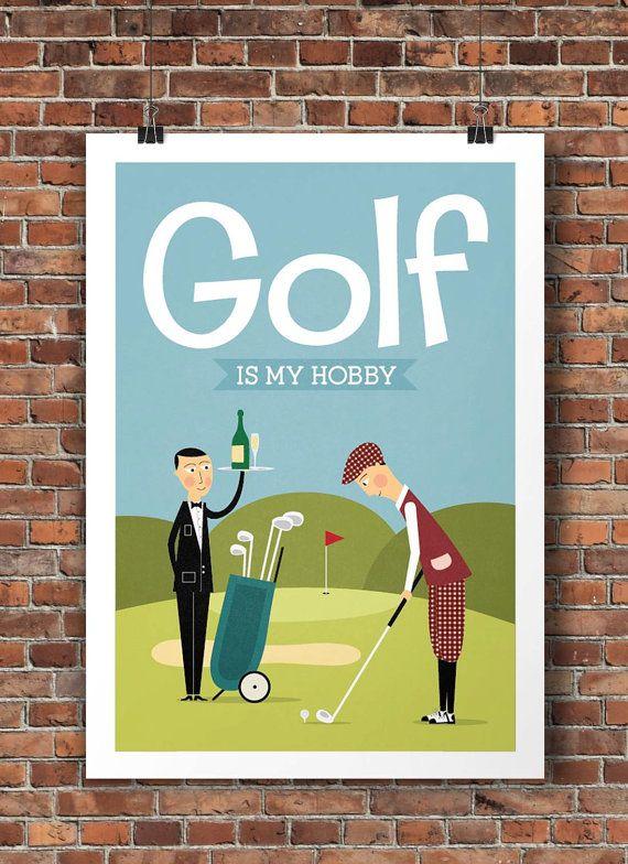 Mid century modern golf illustration print home wall art Golf decor for home