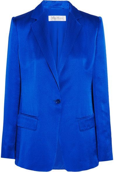 Bright-blue hammered silk-satin Button fastening at front 100% silk Dry clean Made in Italy