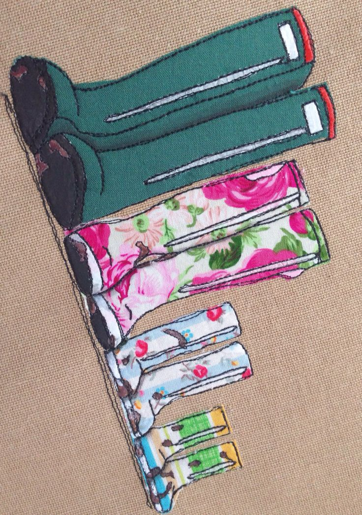 Family of wellies textile portrait freehand machine embroidery, appliqué and paint