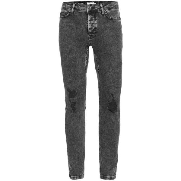 TOPMAN Black Acid Wash Ripped Stretch Skinny Jeans ($29) ❤ liked on Polyvore featuring men's fashion, men's clothing, men's jeans, black, mens tapered leg jeans, mens ripped jeans, mens destroyed jeans, mens stretchy jeans and mens super skinny jeans