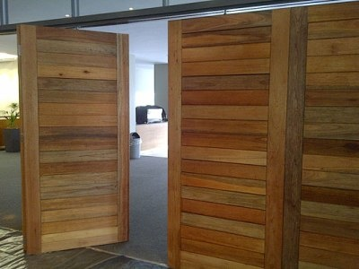Horizontally boarded hardwood doors for Jubilee Church, South Africa