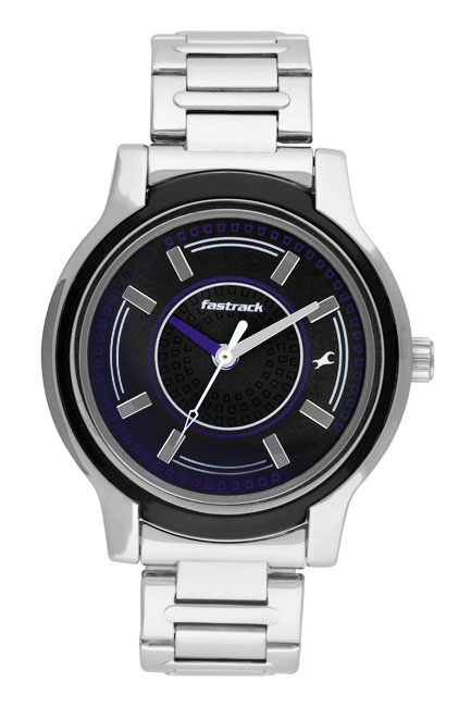 A large round case for the girls, this watch carries onto the case a coloured decorative ring matching the dial. Further on, the hints of colour brought on to the dial add a contrast on this otherwise monochrome watch. Available in a rich black metal dial with a metal strap, this timepiece is a must own for the bold and daring girl!  His & Hers from Fastrack  http://www.fastrack.in/product/6059sm01/?filter=yes=india=2=25&_=1340214981920#