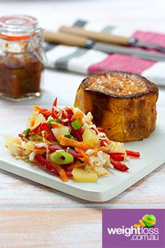 Baked Sweet Potato with Pickled Slaw. #HealthyRecipes #DietRecipes #WeightLossRecipes weightloss.com.au