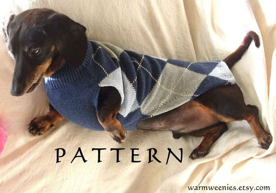 Sewing Pattern for Dachshund Sweater & Snood handmade pets clothing DIY on Etsy, $10.50