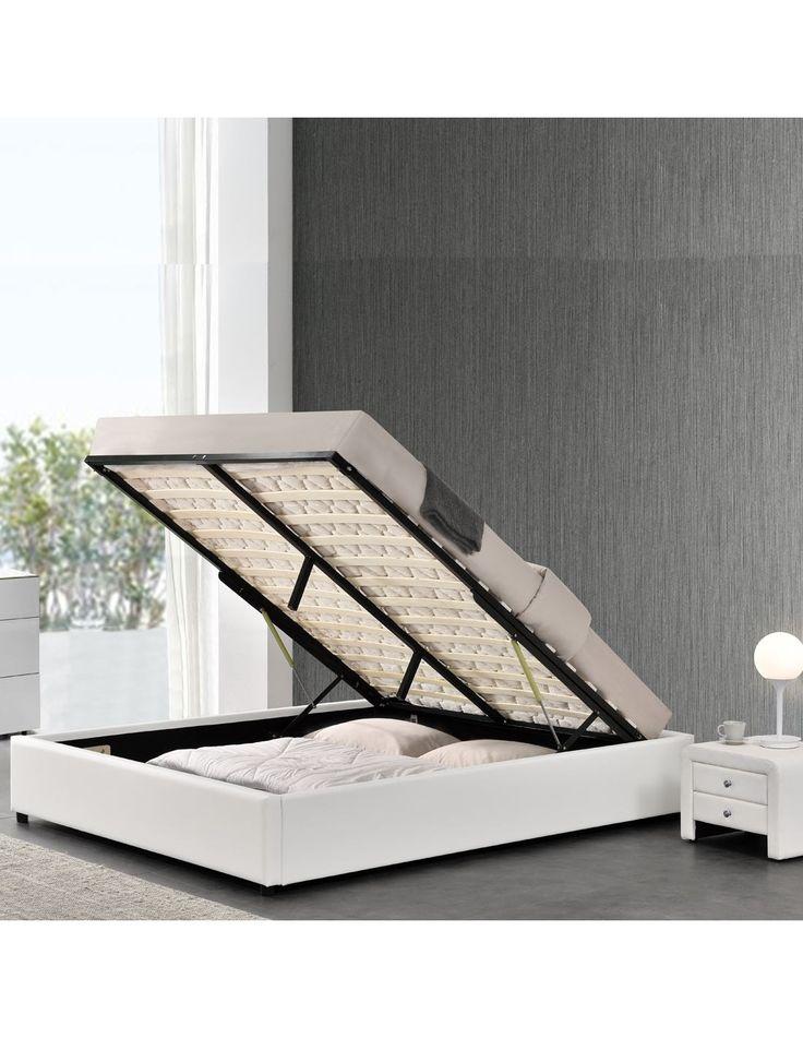 Sommier coffre en 90x190 140 x 190 cm 160 x 200 ou 180x200, coloris noir ou blanc