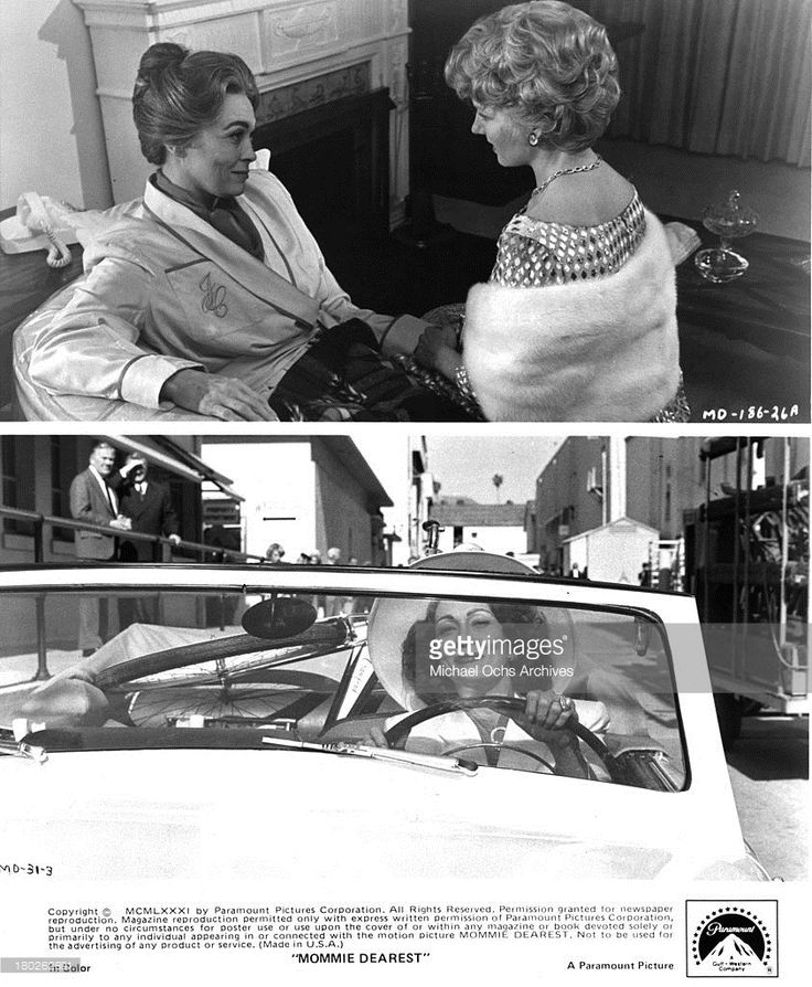 Actress Faye Dunaway and Diana Scarwid on the set of Paramount Pictures movie ' Mommie Dearest' in 1981.