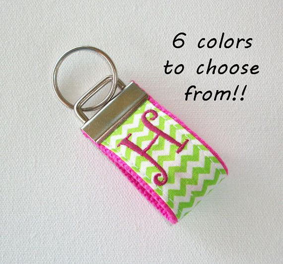 mini FINGER Key FOB / KeyChain / Wristlet   initial by Laa766 embroidery / custom / personalized / monogrammed initials / preppy / 3 letter monogram / patterned fabric / school / can huggie