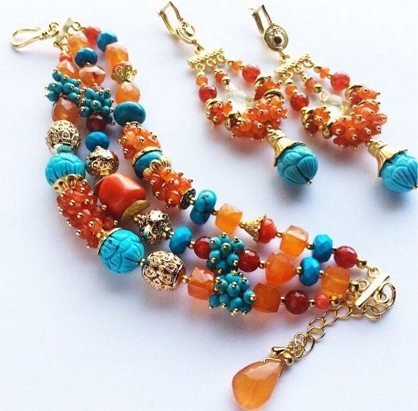 """Купить Комплект """"Полдень"""" - разноцветный, браслет и серьги, оранжевые украшения, терракотовый браслет, оранжевый с бирюзовым"""