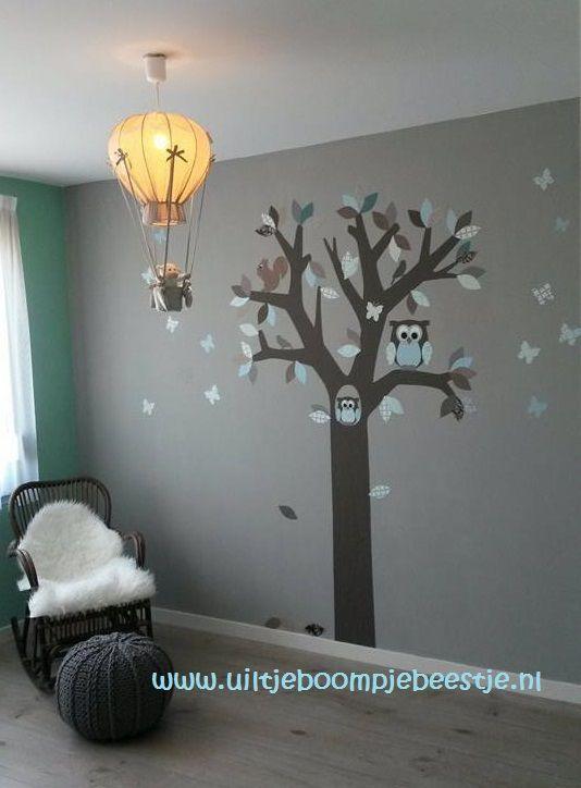 behangboom in mintgroen-bruin en grijs tinten