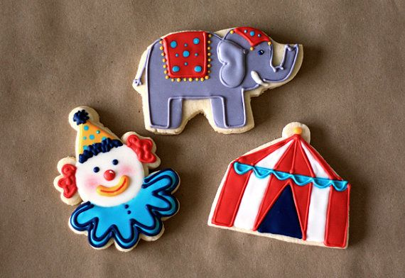 Hand Decorated Sugar Cookies Circus Themed // by BeesKneesCreative