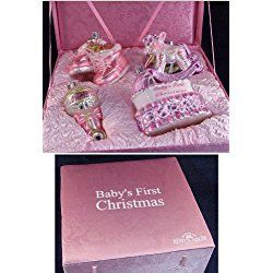 "4-Piece Pink ""Baby's First Christmas"" Girl Glass Ornament Boxed Gift Set"