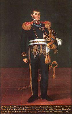 Ramòn Freire. Presidente de la República de Chile 25 de enero de 1827-8 de mayo de 1827. Director Supremo de Chile 4 de abril de 1823-9 de julio de 1826.  Comandante en Jefe del Ejército de Chile 21 de febrero de 1823-2 de abril de 1830.