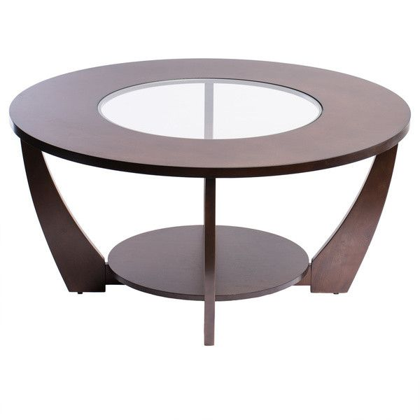 Archer Rich Espresso Coffee Table Wood Glass Center Foot Glide Living Room  Den
