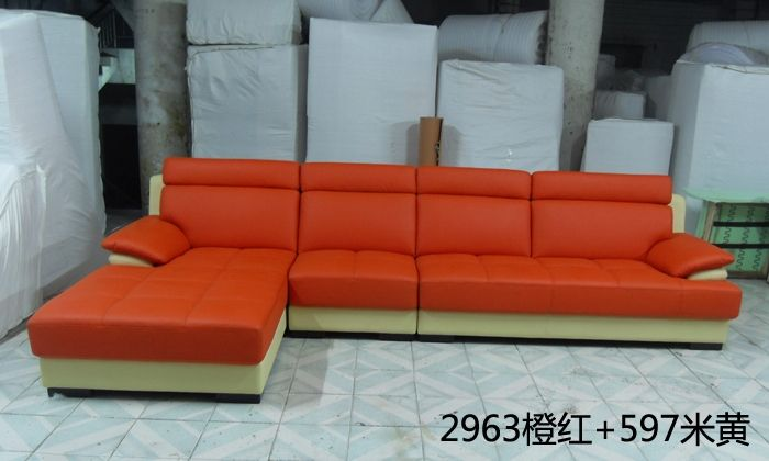 1699.00$  Buy here - http://aliz0t.worldwells.pw/go.php?t=1129241978 - Free Shipping European style living room furniture Top Grain Leather L Shaped Corner Sectional Sofa Set orange leather sofa