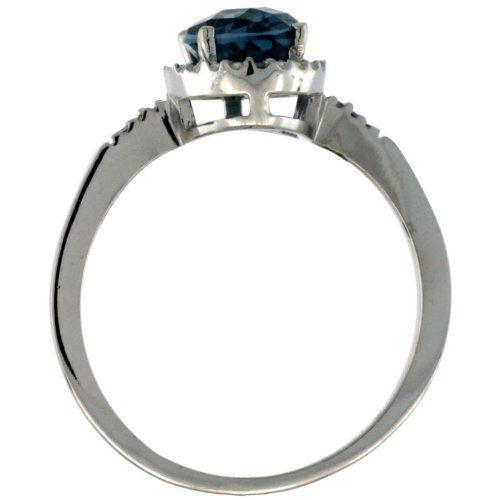 Revoni - Bague Femme - Or blanc 375/1000 (9 carats) - Diamant et Topaze bleu de Londres ovale 1.17 ct - Taille 62