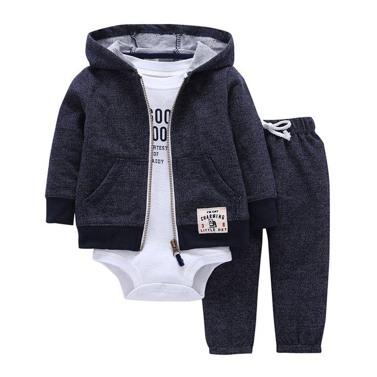 Комплекты 1 пальто с капюшоном на молнии + брюки + ползунки мода хлопок 2017 для маленьких мальчиков девочек clotheschildren мальчиков одежда Бесплатная доставка купить на AliExpress